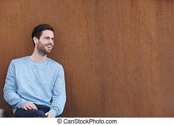 alegre, retrato, homem jovem