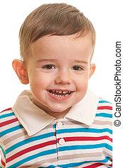 alegre, retrato, toddler, closeup