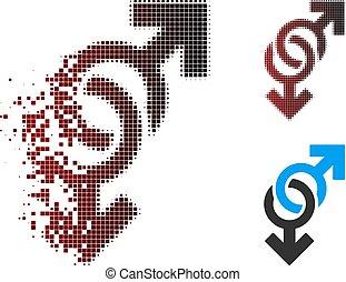 alegre, símbolo, halftone, mudanza, pixel, icono