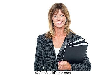 alegre, secretária, segurando, negócio, arquivos