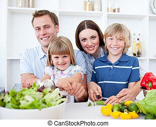 alegre, seu, jantar, pais, preparar, crianças, cozinha