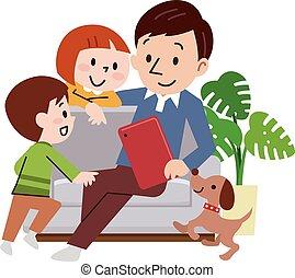 alegre, sofá, hogar, familia , sentado