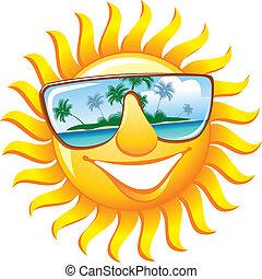 alegre, sol, em, óculos de sol