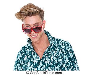 alegre, sorrindo, óculos de sol, homem jovem