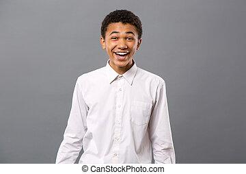 alegre, sorrindo, homem jovem