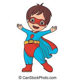 alegre, super héroe, niño