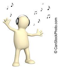 alegre, títere, bailando