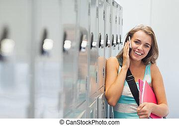 alegre, telefonando, bonito, estudante
