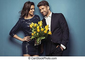 alegre, tulipanes, pareja, Posar