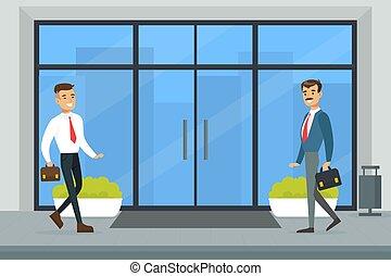 alegre, vector, reunión, plano, hombres de negocios, entrada, centro, ilustración, oficina, empresa / negocio