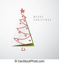 alegre, vector, tarjeta de navidad, minimalistic