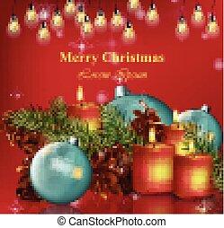alegre, vector., vacaciones, realista, plano de fondo, ilustraciones, tarjeta de navidad, feliz