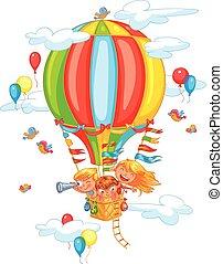 alegre, viaje, a, un, globo del aire caliente