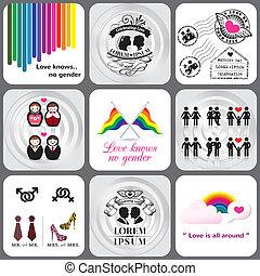 alegre, y, elemento, diseño, lesbiana, icono