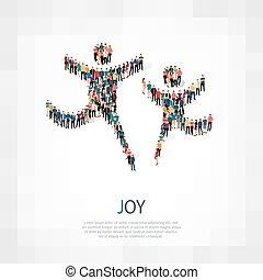 alegria, 3d, pessoas, sinal