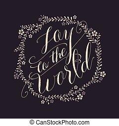 alegria, caligrafia, desenho, mundo