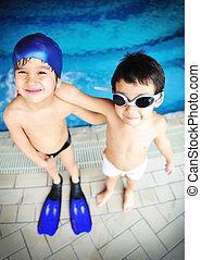 alegria, crianças, felicidade, piscina