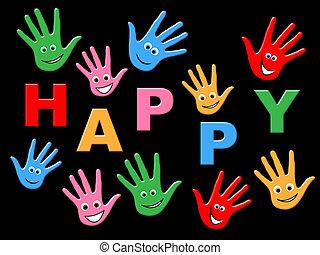alegria, feliz, representa, crianças, crianças, e,...