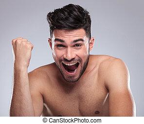 alegria, homem, gritando, topless, jovem