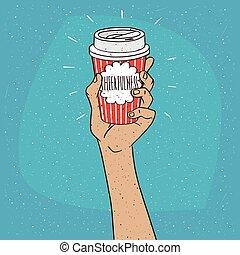alegria, ligado, copo de papel, de, café