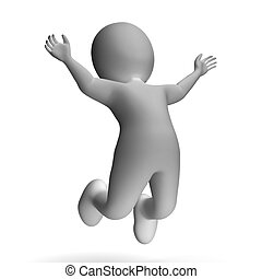 alegria, mostrando, personagem, excitação, pular, 3d