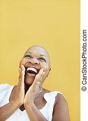 alegria, mulher sorridente, maduras, africano
