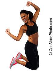 alegria, mulher, sportswear, pular