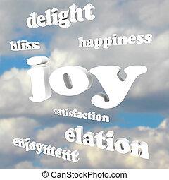 alegria, palavras, em, céu nublado, satisfação, felicidade