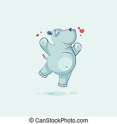 alegria, personagem, pular, emoji, caricatura, hipopótamo