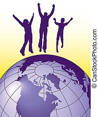 alegria, pular, pessoas