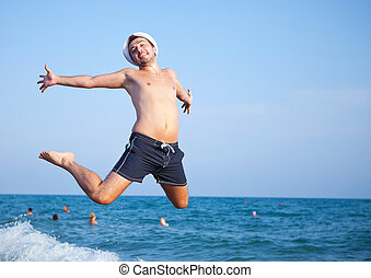 alegria, pular, praia, homem