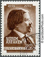 aleichem, centenary, stämpel, författare, -, (1859-1916),...