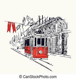 aleja, istambuł, tramwaj, ilustracja, nostalgiczny, cyfrowy, istiklal, czerwony