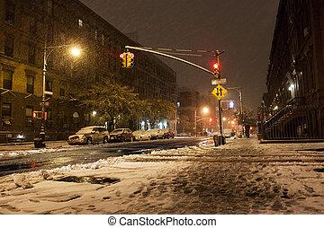 aleja, manhattan, nowy-york, śnieg