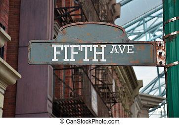Aleja, wizerunek, znak, ulica,  York, nowy, PIĄTY