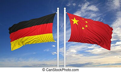 alemán, banderas, chino