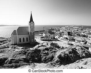 alemán, colonial, namibio, luderitz, iglesia