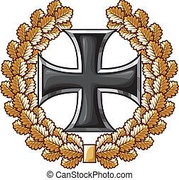 alemán, cruz hierro, y, roble, guirnalda