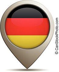 alemán, derecho, bandera, alfiler, ubicación