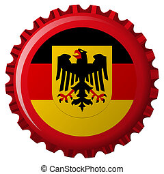 alemán, encima, gorra, bandera, botella, popular