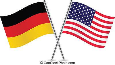 alemán, flags., norteamericano