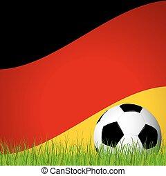 alemán, frente, bandera, pelota, futbol
