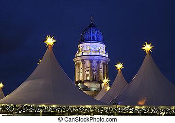 alemán, gendarmenmarkt, berlín, alemania, iglesia