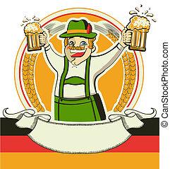 alemán, hombre, y, anteojos, de, beer.vector, oktoberfest,...