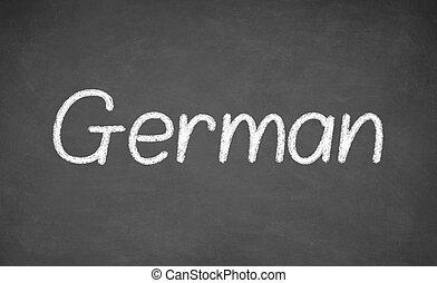 alemán, lección, en, pizarra, o, chalkboard.