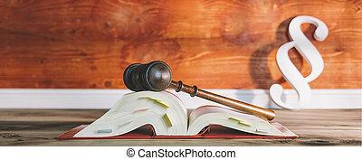 alemán, libro de derecho, con, martillo, y, párrafo, símbolo, en, un, abogado, oficina, incluso, espacio de copia, -, ley, concepto, imagen