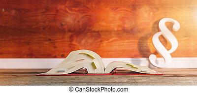 alemán, libro de derecho, con, párrafo, icono, en, un, abogado, oficina, incluso, espacio de copia, -, ley, concepto, imagen
