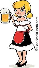 alemán, mujer, vector, waitress., ilustración