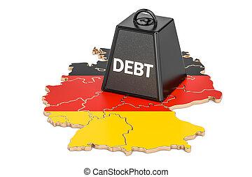 alemán, nacional, deuda, o, presupuesto, déficit, financiero, crisis, concepto, 3d, interpretación