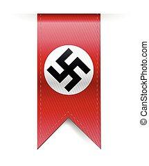 alemán, nazi, esvástica, bandera, ahorcadura